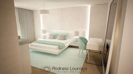 """Projecto de Decoração """"Like Green"""": Quartos modernos por Andreia Louraço - Designer de Interiores (Contacto: atelier.andreialouraco@gmail.com)"""