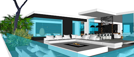 Villa contemporaine: Maisons de style de style Minimaliste par Architecture interieure Laure Toury