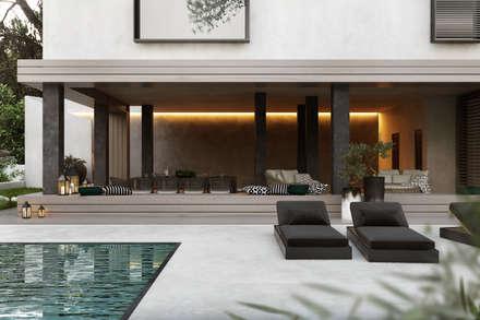 House overlooking the park: Moradias  por DZINE & CO, Arquitectura e Design de Interiores