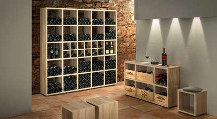 BOON—Cube Storage Units - Wine Racks: rustic Wine cellar by Regalraum UK