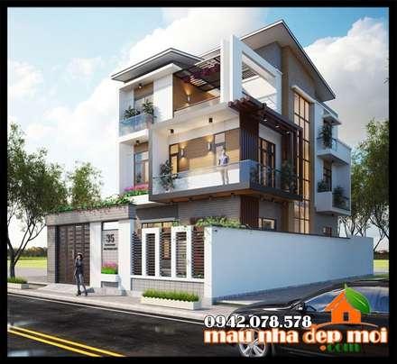 Kiến trúc toát lên được sự thanh thoát, sống động trên từng đường nét:  Biệt thự by Công ty TNHH TKXD Nhà Đẹp Mới