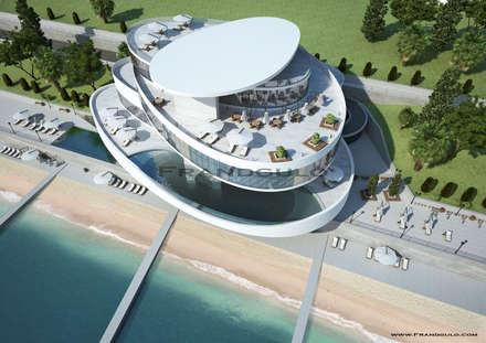 Архитектурная симфония на берегу моря: Дома с террасами в . Автор – Frandgulo