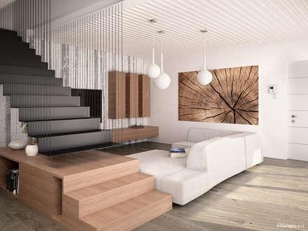 Ville bifamiliari in legno - soggiorno: Soggiorno in stile in stile Moderno di Marlegno