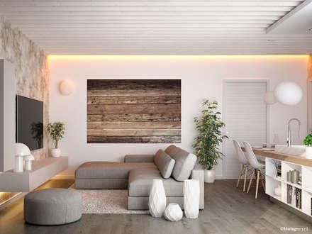 Appartamenti in legno - soggiorno: Soggiorno in stile in stile Moderno di Marlegno