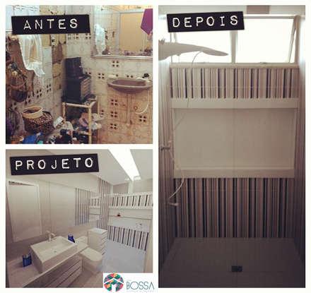 Casa de banho - Antes e Depois: Casas de banho ecléticas por Studio Bossa Decoração de Interiores