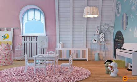 Дизайн детской в розовых и голубых тонах: Спальни для девочек в . Автор – Art-i-Chok