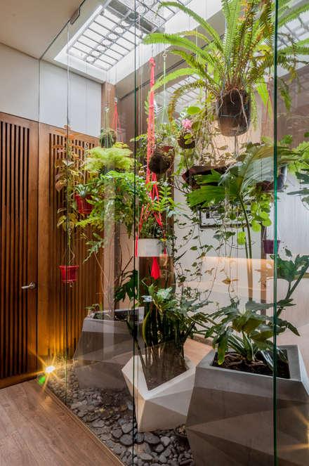 Jardines zen de estilo  por Martínez Arquitectura