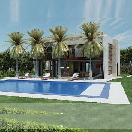 casas campestres piscinas de estilo moderno por arquitectos y entorno sas - Decoracion De Piscinas