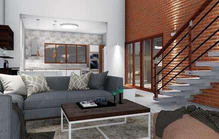 Conceito aberto: Salas de estar campestres por Trivisio Consultoria e Projetos em 3D