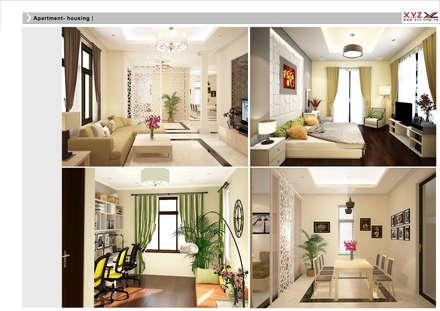 Villa Vanquan-contemporary style:  Phòng khách by Công ty cổ phần X.Y.Z