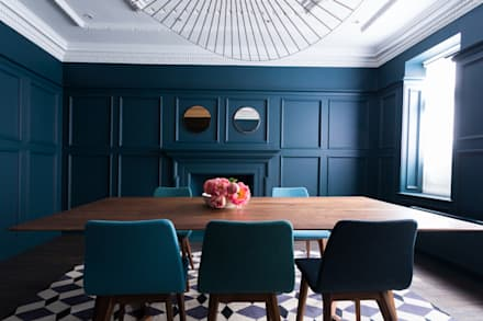 Sophisticated Mid-Century Home : Barnes: eclectic Dining room by Cassidy Hughes Interior Design