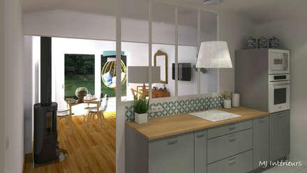 VERSION 1 - Le séjour et la cuisine: Cuisine de style de style Scandinave par MJ Intérieurs