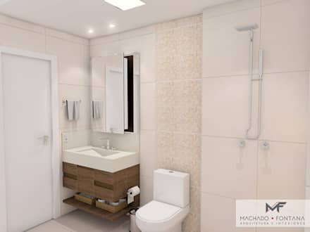 Banheiro Social: Banheiros modernos por Machado Fontana | Arquitetura e Interiores