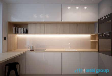 Projekt wnętrza kuchni w mieszkaniu na osiedlu Tysiąclecia w Katowicach: styl , w kategorii Kuchnia zaprojektowany przez Archi group Adam Kuropatwa