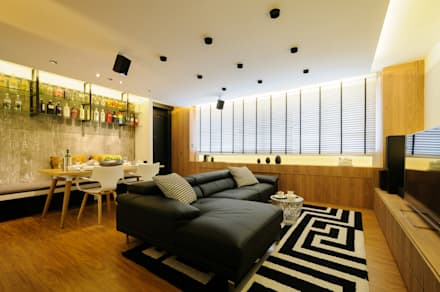 Design & Build Project: Resale HDB Apt @ Serangoon Ave 3: scandinavian Living room by erstudio Pte Ltd