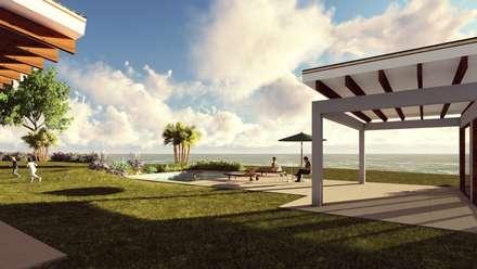 Area Social: Jardines de estilo mediterraneo por Atelier Arquitectura
