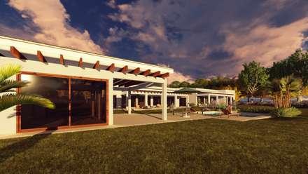 Area Social: Terrazas  de estilo  por Atelier Arquitectura