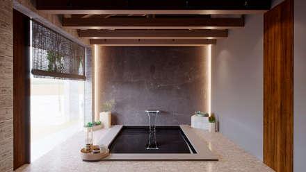 Интерьер бассейна: Переливные бассейны в . Автор – Архитектурная студия Чадо