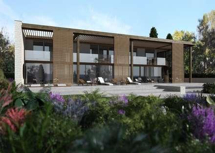 Carina House - progetto abitazione privata a cura dell'arch. Zaetta (Feltre): Casetta da giardino in stile  di MM Rendering Studio