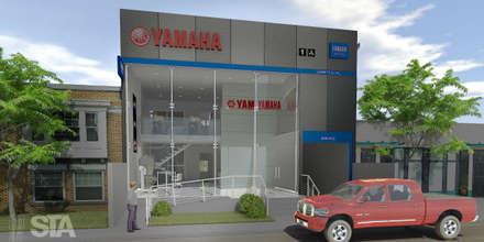 Tienda Yamaha - Vista Exterior: Concesionarios de estilo  por Soluciones Técnicas y de Arquitectura