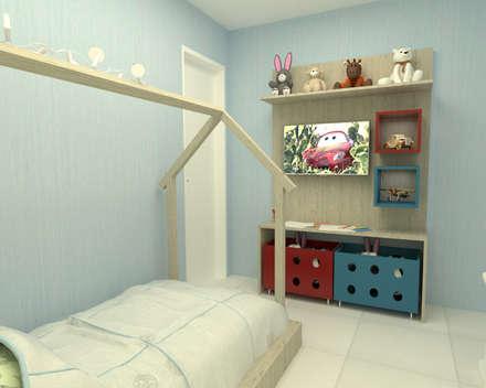 minimalistic Nursery/kid's room by Dayane Medeiro Arquitetura e Interiores