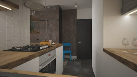 : Cocinas de estilo industrial por AIN projektowanie wnętrz