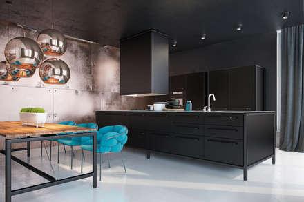 Дизайн кухни для холостяка: Кухонные блоки в . Автор – Zooi