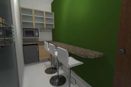 Diseño Oficina Comercial: Muebles de cocinas de estilo  por B+ Studio