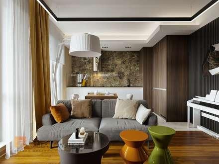 Дизайн 1-комнатной квартиры 49 м.кв. в современном стиле с элементами модерна, ЖК «Skandi Klubb»: Гостиная в . Автор – Студия Павла Полынова