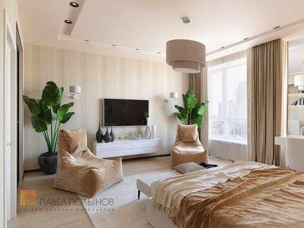 Дизайн интерьера однокомнатной квартиры 70 кв.м. в ЖК «Риверсайд», современный стиль: Спальни в . Автор – Студия Павла Полынова