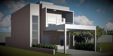 Fachada linda e moderna. : Casas ecléticas por Trivisio Consultoria e Projetos em 3D