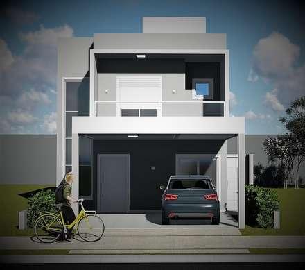Opções de cores e revestimentos: Casas unifamilares  por Trivisio Consultoria e Projetos em 3D