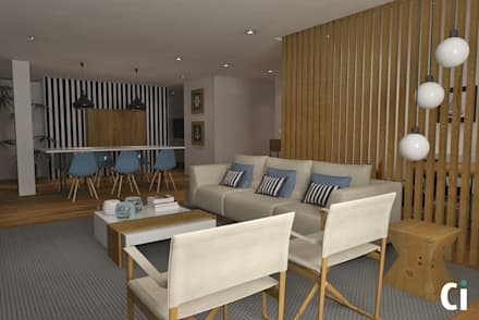 Sala de estar e jantar: Salas de estar modernas por Ci interior decor
