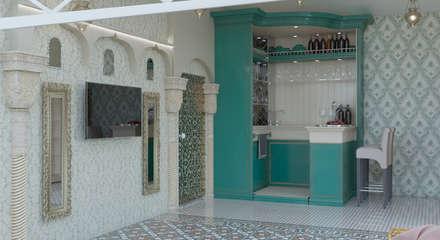 дизайн проект зоны бассейна и комнаты отдыха: Гостиная в . Автор – студия дизайна 'план и дизайн'