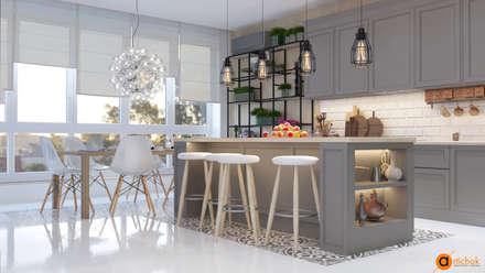 Кухня-студия в белом и сером цветах: Кухонные блоки в . Автор – Art-i-Chok