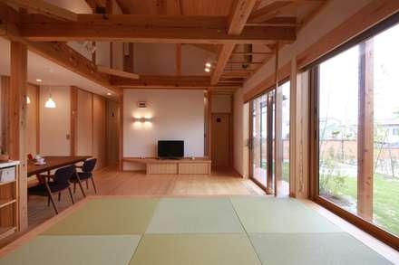 大きな輪の家: 田村建築設計工房が手掛けたリビングです。