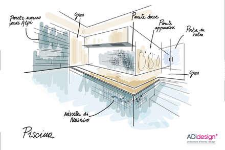 ACQUA E PIETRA   SPA FITNESS & WELLNESS: Piscina a sfioro in stile  di ADIdesign*  studio