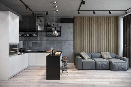 غرفة المعيشة تنفيذ Студия архитектуры и дизайна Дарьи Ельниковой