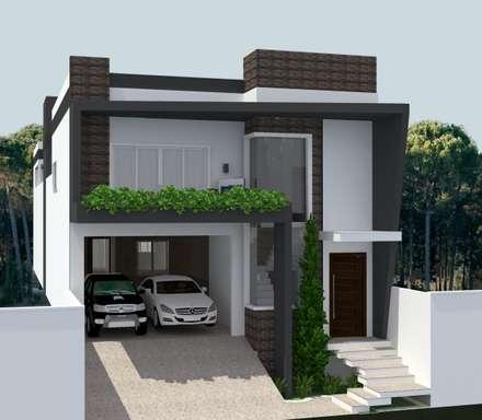 FACHADA RESIDENCIAL: Casas modernas por BRUNA NAYARA - ARQUITETA URBANISTA