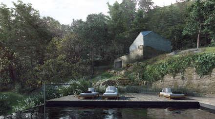 Proposta - piscina, spa e capela: Piscinas infinitas  por David Bilo | Arquitecto