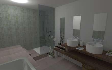 Rénovation d'une salle de bain: Salle de bain de style de style Moderne par Hélène Sommé Architecte d'intérieur