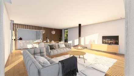 Casa GC: Salas de estar modernas por Helena Faria Arquitectura e Design