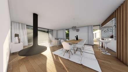 Casa GC: Salas de jantar modernas por Helena Faria Arquitectura e Design