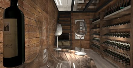 ADEGA ESCAVADA: Adegas modernas por Petillo Arquitetura