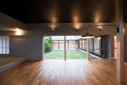 ハツオイノヒラヤ: amp / アンプ建築設計事務所が手掛けたリビングです。