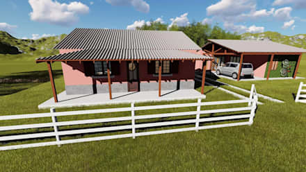Casas campestres de estilo  por Igor Cunha Arquitetura