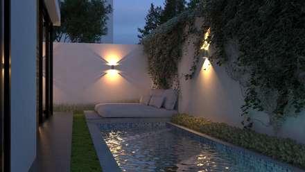 Alberca: Albercas de estilo moderno por V Arquitectura