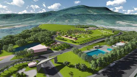 Vista geral campestre: Jardins campestres por Bendita Arquitetura