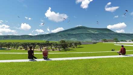 Parque esportivo Morro Ferrabraz: Jardins campestres por Bendita Arquitetura