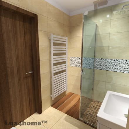 White Pebble Tiles mosaic - White pebble stone producer: colonial Bathroom by Lux4home™ Indonesia